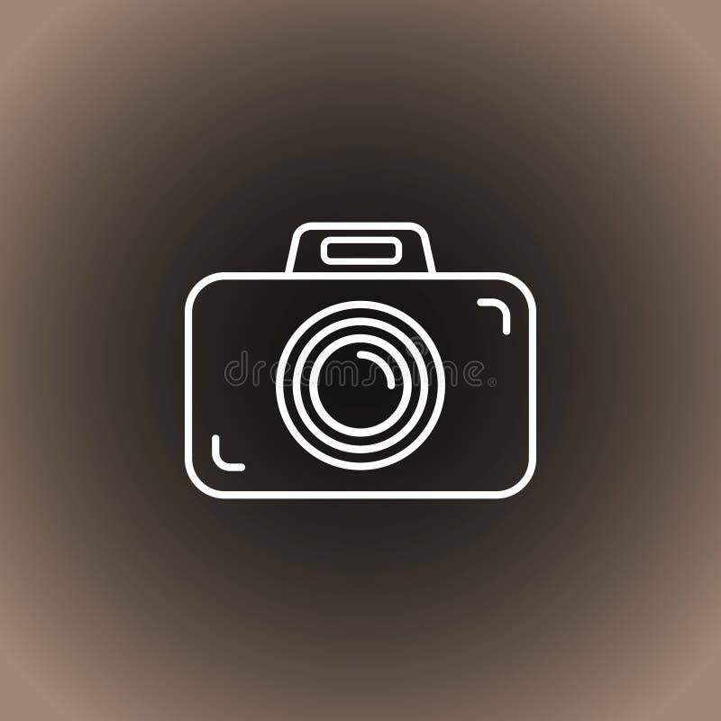 Symbol för översiktsfotokamera på svart/mörkt - grå och beige lutningbakgrund royaltyfri illustrationer