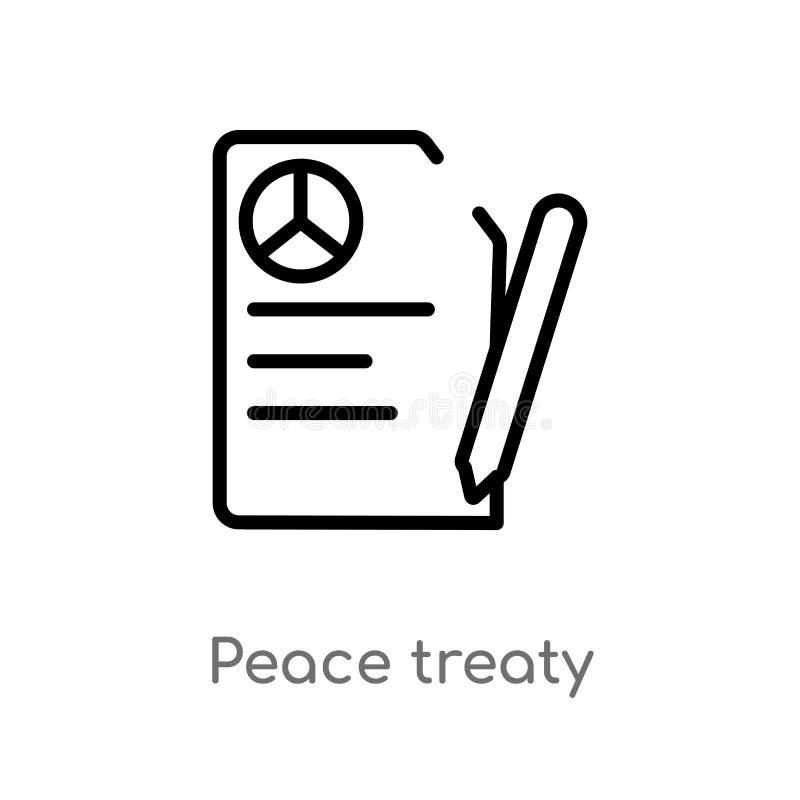 symbol för översiktsfredsfördragvektor isolerad svart enkel linje beståndsdelillustration från politiskt begrepp Redigerbar vekto stock illustrationer
