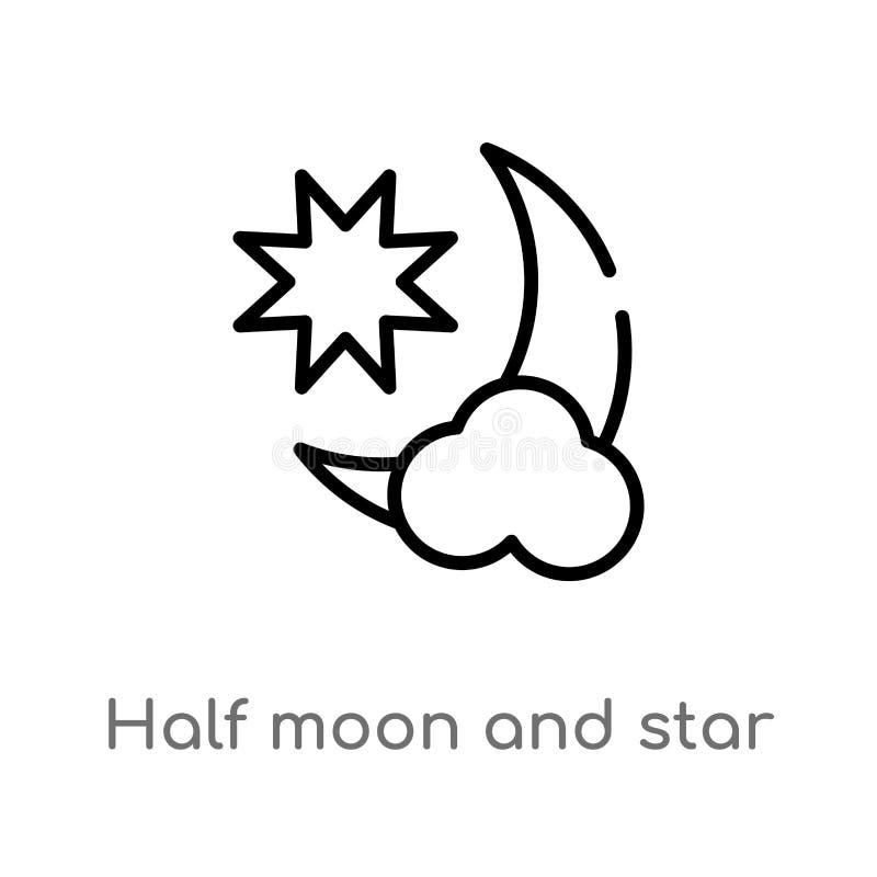 symbol för översiktshalvmåne- och stjärnavektor isolerad svart enkel linje beståndsdelillustration från formbegrepp Redigerbar ve stock illustrationer