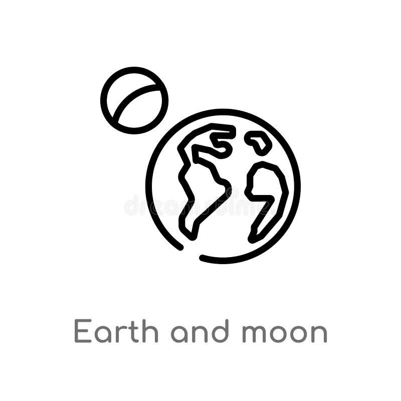 symbol för översiktsjord- och månevektor isolerad svart enkel linje beståndsdelillustration från astronomibegrepp Redigerbar vekt stock illustrationer