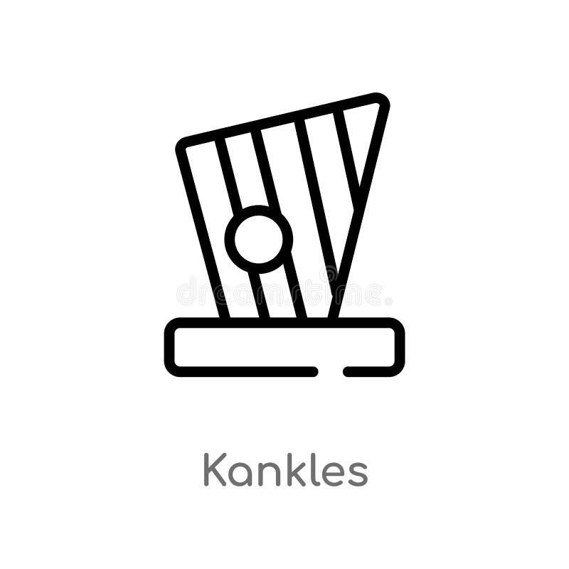 symbol för översiktskanklesvektor isolerad svart enkel linje beståndsdelillustration från kulturbegrepp redigerbara vektorslaglän royaltyfri illustrationer