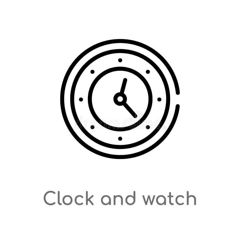 symbol f?r ?versiktsklocka- och klockavektor r redigerbart stock illustrationer