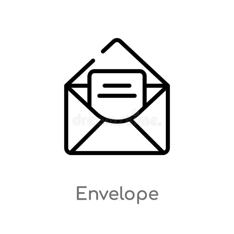 symbol för översiktskuvertvektor isolerad svart enkel linje beståndsdelillustration från användargränssnittbegrepp Redigerbar vek royaltyfri illustrationer