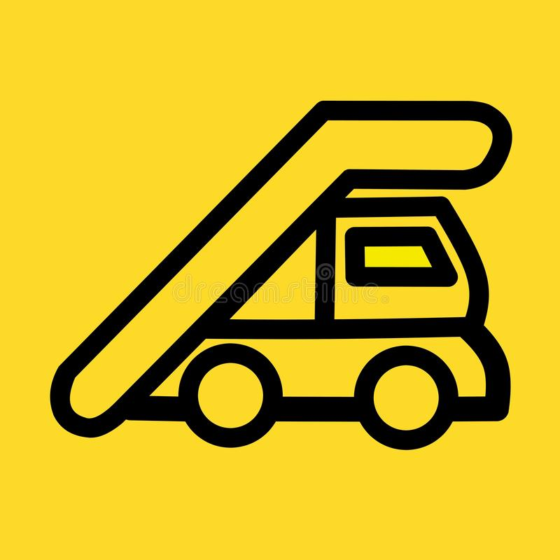 Symbol för översiktslandgånglastbil enkel linje beståndsdelillustration från flygplatsterminalen stock illustrationer