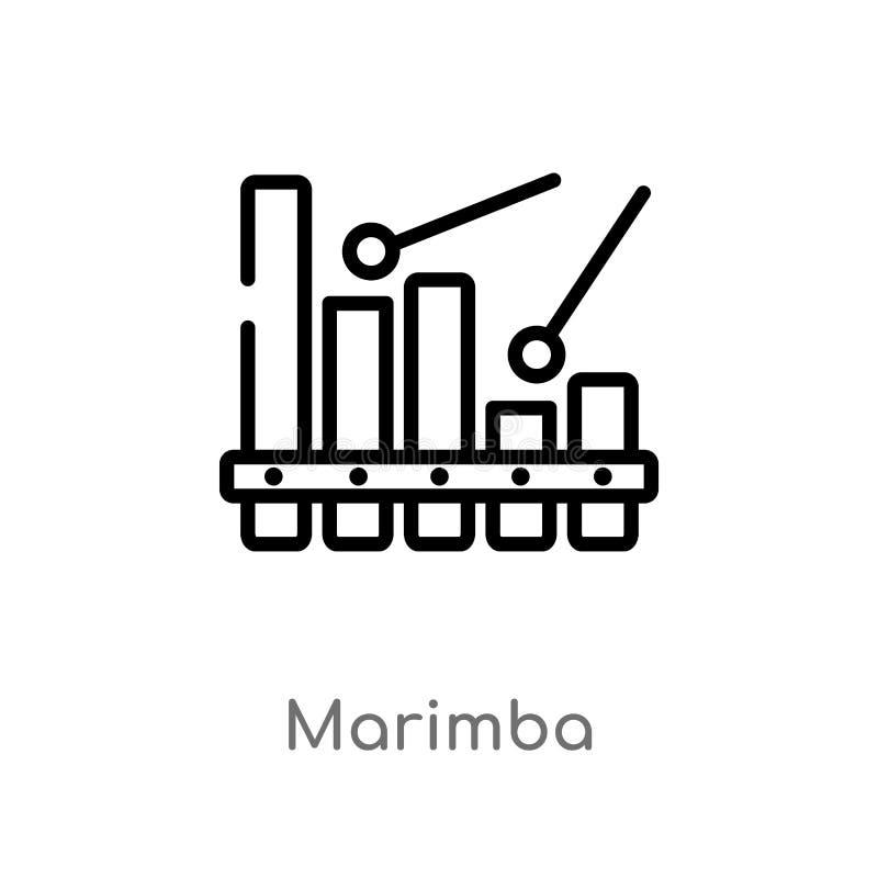 symbol för översiktsmarimbavektor isolerad svart enkel linje beståndsdelillustration från musikbegrepp redigerbar vektorslaglängd royaltyfri illustrationer