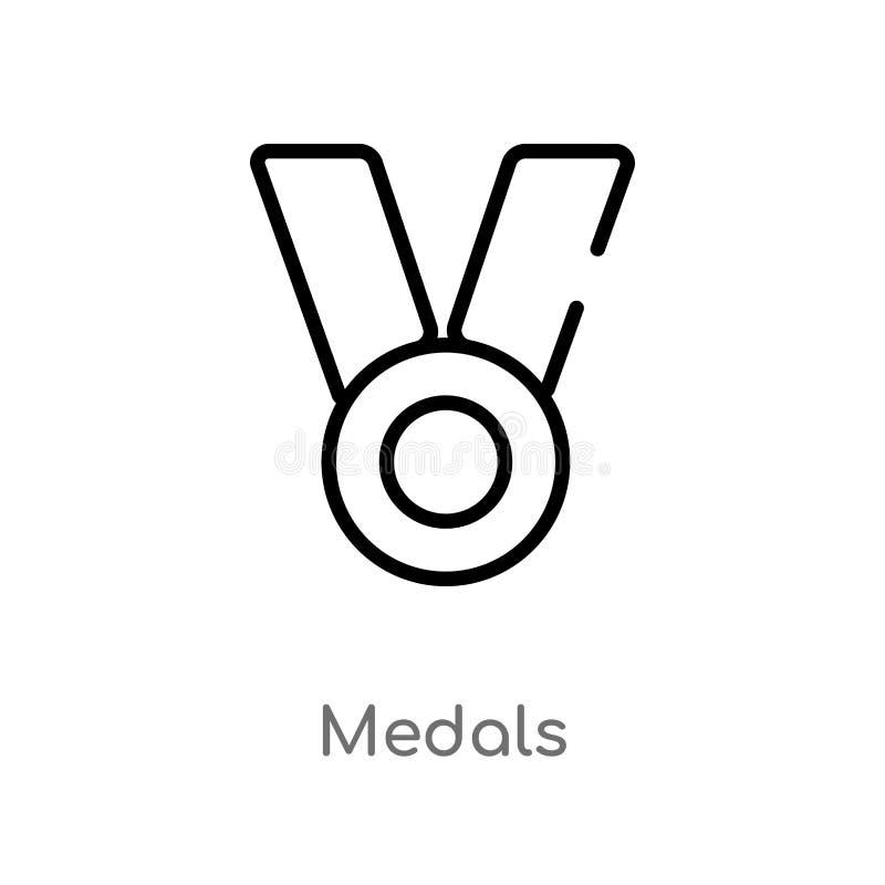 symbol f?r ?versiktsmedaljvektor r redigerbara vektorslagl?ngdmedaljer royaltyfri illustrationer