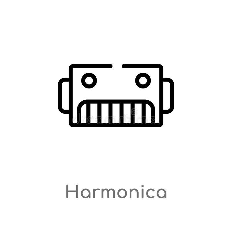 symbol för översiktsmunspelvektor isolerad svart enkel linje beståndsdelillustration från musikbegrepp Redigerbar vektorslaglängd vektor illustrationer