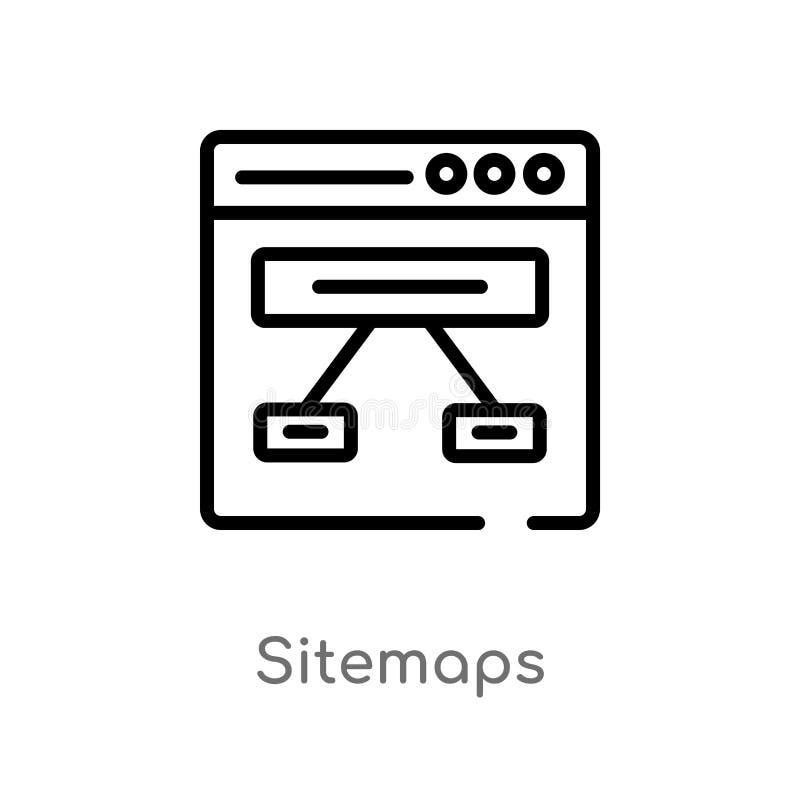 symbol för översiktssitemapsvektor isolerad svart enkel linje beståndsdelillustration från teknologibegrepp Redigerbar vektorslag stock illustrationer