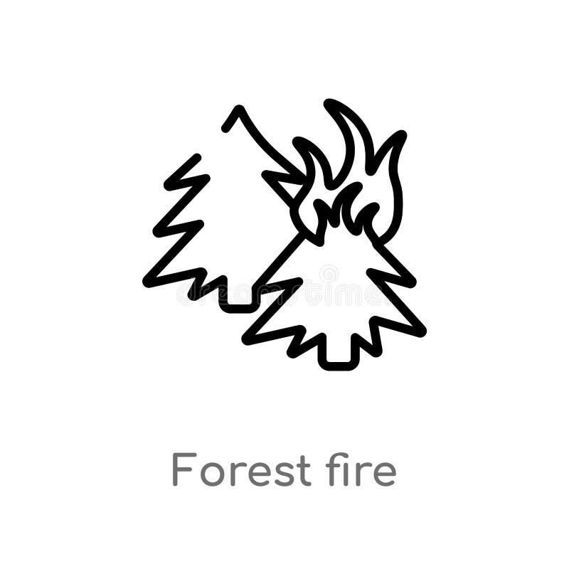 symbol för översiktsskogsbrandvektor isolerad svart enkel linje beståndsdelillustration från naturbegrepp Redigerbar vektorslaglä stock illustrationer