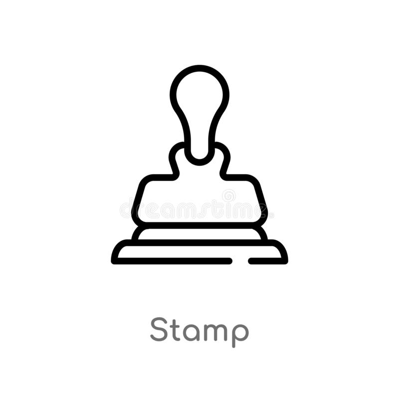 symbol för översiktsstämpelvektor isolerad svart enkel linje beståndsdelillustration från kundtjänstbegrepp Redigerbar vektorslag royaltyfri illustrationer