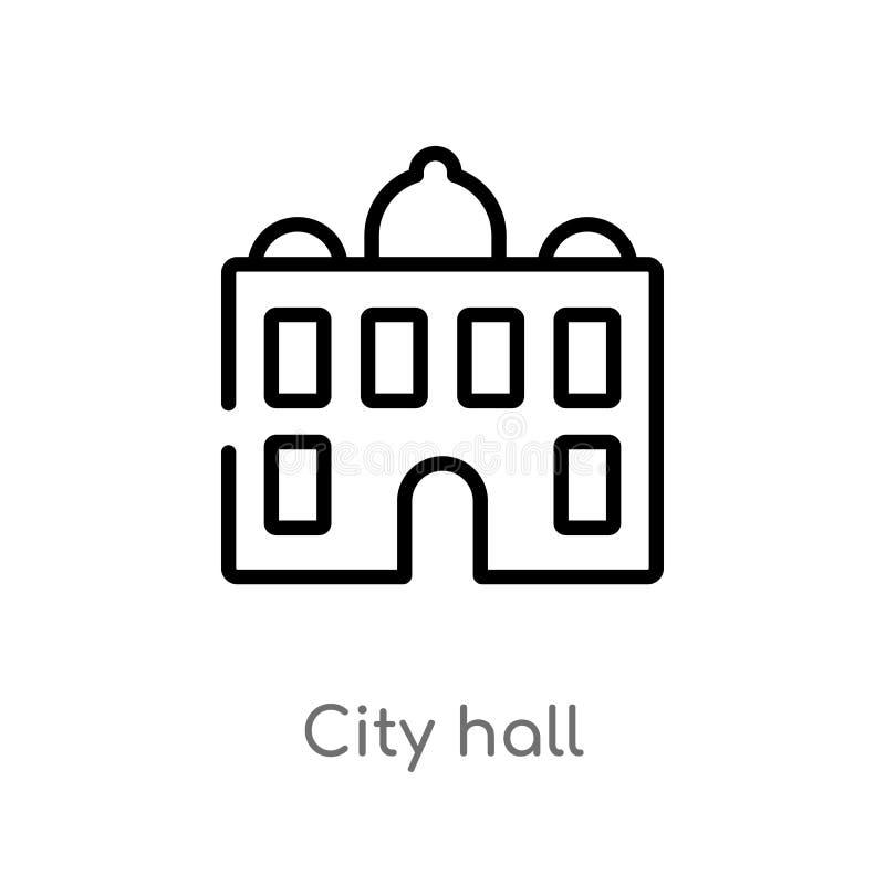 symbol för översiktsstadshusvektor isolerad svart enkel linje beståndsdelillustration från stadsbeståndsdelbegrepp Redigerbar vek stock illustrationer