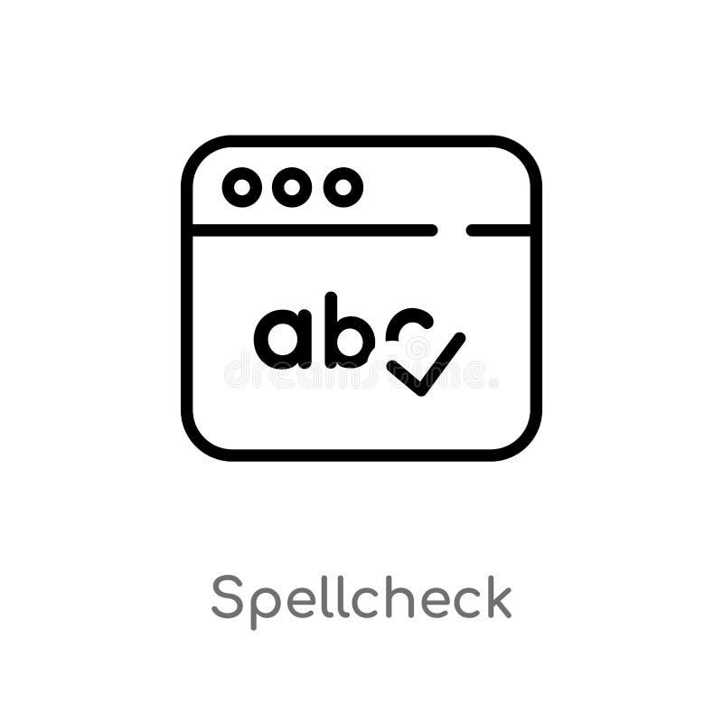 symbol för översiktsstavningskontrollvektor isolerad svart enkel linje beståndsdelillustration från användargränssnittbegrepp Red royaltyfri illustrationer