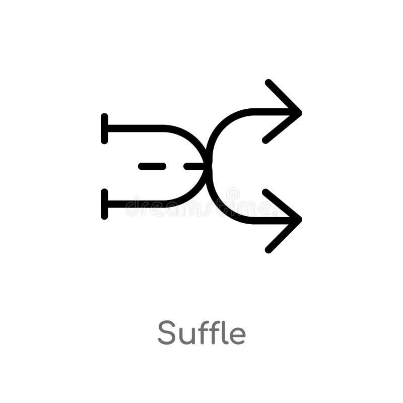symbol för översiktssufflevektor isolerad svart enkel linje best?ndsdelillustration fr?n pilbegrepp redigerbar vektorslaglängdsuf stock illustrationer