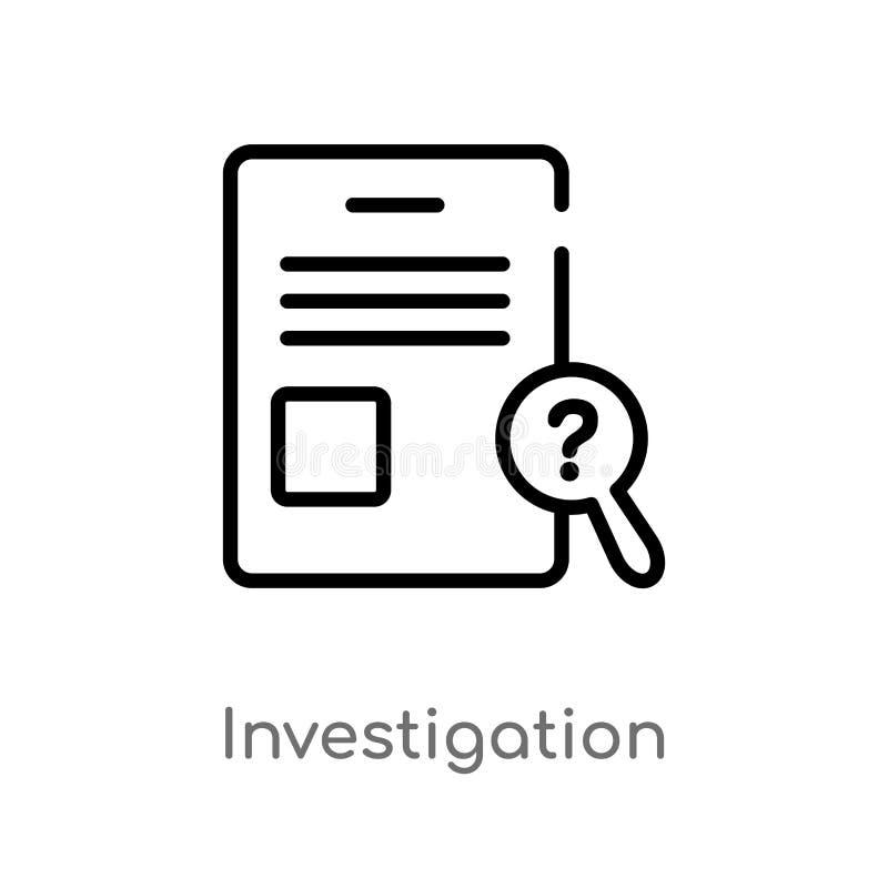 symbol för översiktsutredningvektor isolerad svart enkel linje beståndsdelillustration från lag- och rättvisabegrepp Redigerbar v stock illustrationer