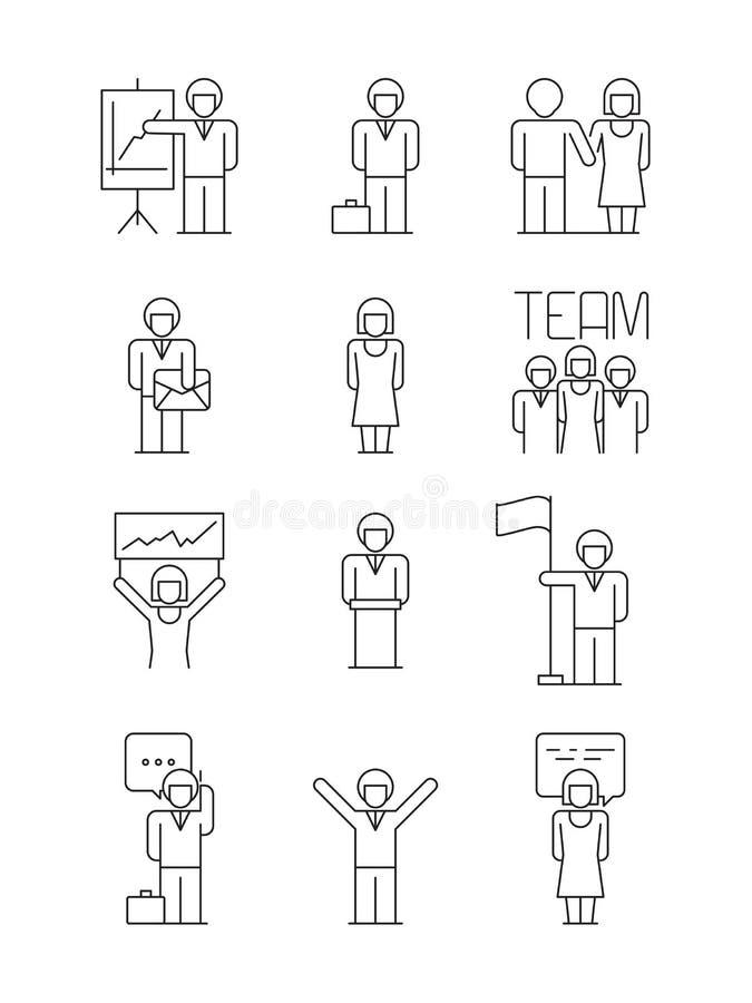 Symbol för affärsfolk Symboler för affär för lyckad för folk för användare för förbindelse för lagkontorschefer vektor för dialog stock illustrationer