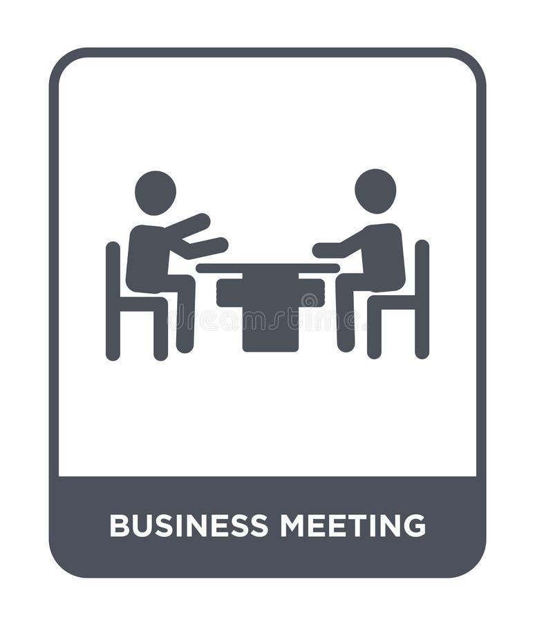 symbol för affärsmöte i moderiktig designstil symbol för affärsmöte som isoleras på vit bakgrund Symbol för vektor för affärsmöte royaltyfri illustrationer