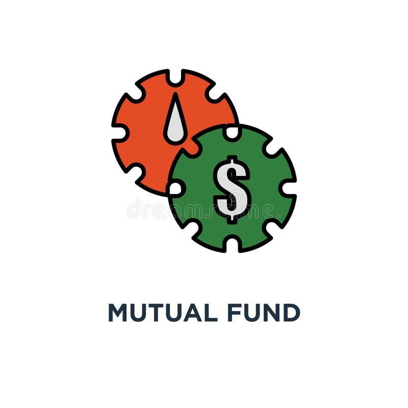 symbol för aktieandelsfondledning retur för långsiktig investering, utdelningbetalning, portföljkapacitetsanalys, tunt slaglängdb royaltyfri illustrationer