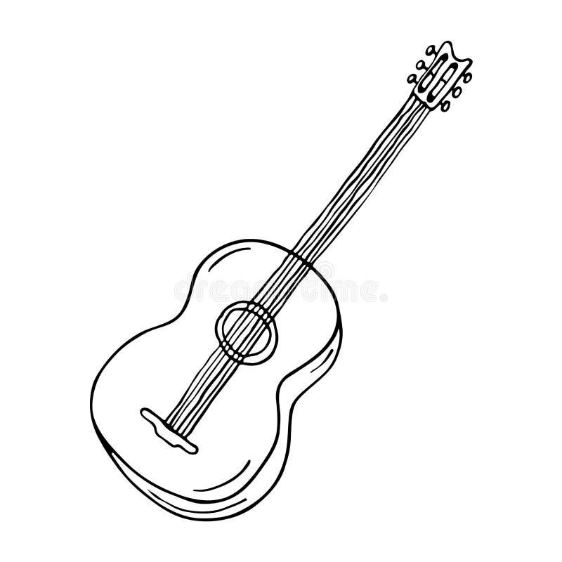 Symbol för akustisk gitarr royaltyfri illustrationer