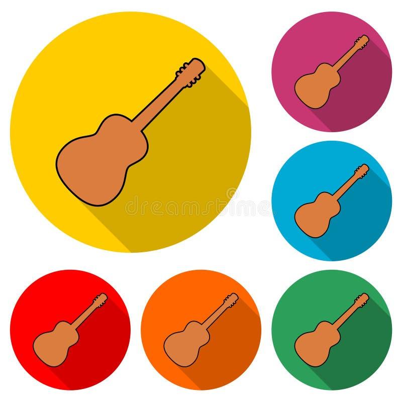 Symbol för akustisk gitarr eller logo, gitarrkontur, färguppsättning med lång skugga royaltyfri illustrationer