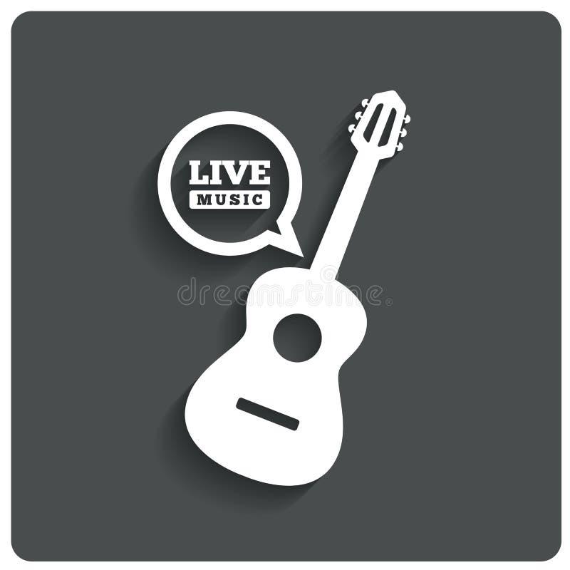 Symbol för akustisk gitarr. Symbol för levande musik. Plan symbol vektor illustrationer