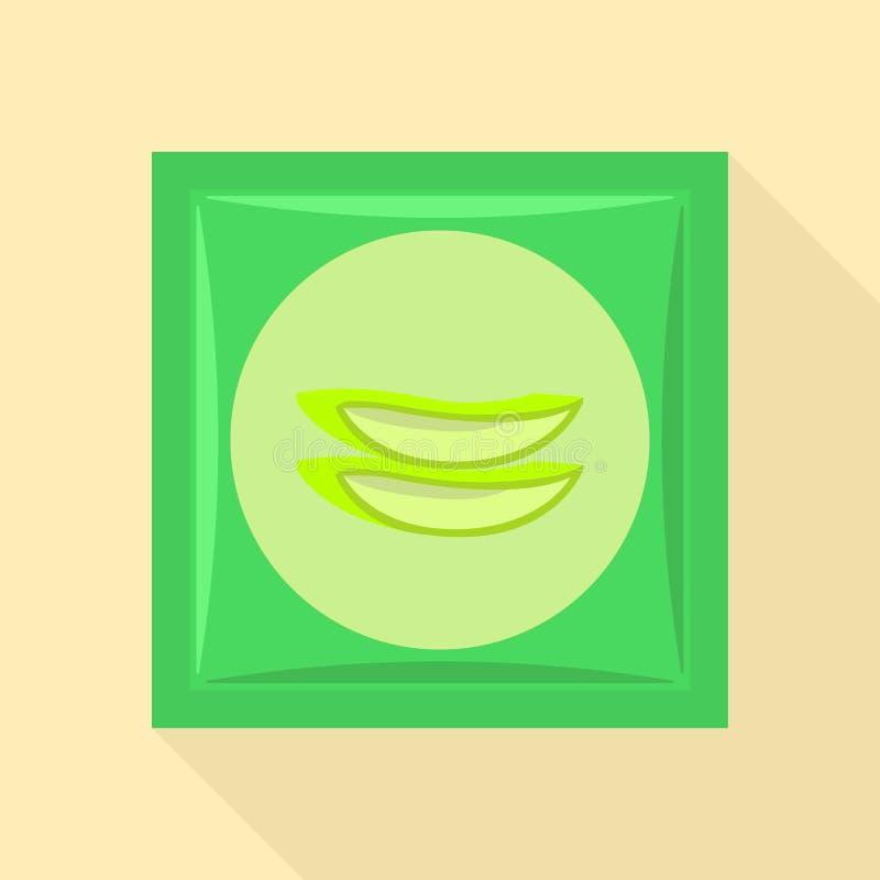Symbol för aloevera packe, plan stil royaltyfri illustrationer