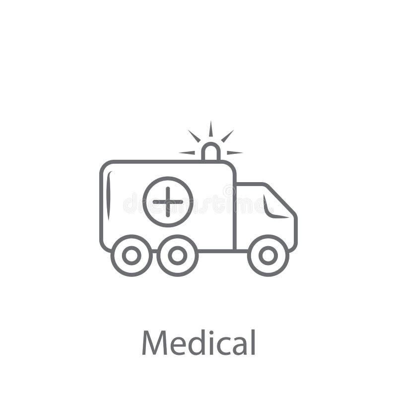 Symbol för ambulansbilvektor Enkel beståndsdelillustration design för symbol för ambulansbilvektor från försäkringsamlingsuppsätt royaltyfri illustrationer