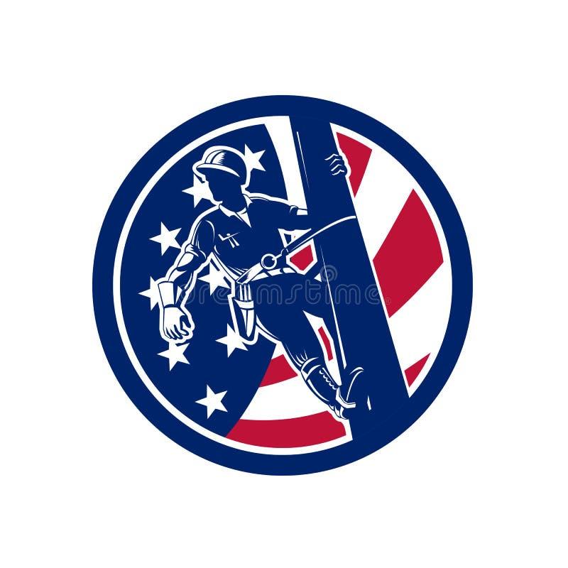 Symbol för amerikanLineworker USA flagga stock illustrationer