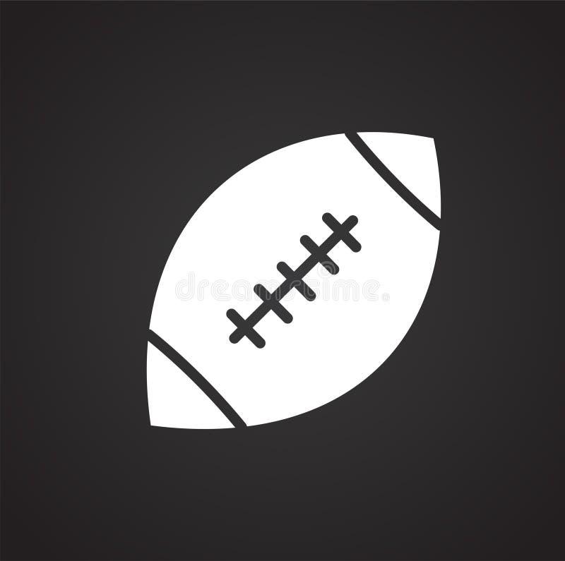 Symbol för amerikansk fotboll på svart bakgrund för diagrammet och rengöringsdukdesignen, modernt enkelt vektortecken för färgbeg vektor illustrationer