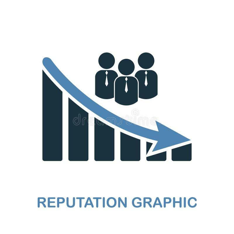Symbol för anseendeminskningdiagram Monokrom stildesign från diagramsymbolssamling Ui Perfekt enkel pictogramreputat för PIXEL stock illustrationer