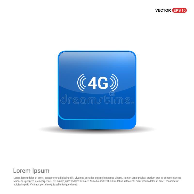 symbol för anslutning 4G - blå knapp 3d royaltyfri illustrationer
