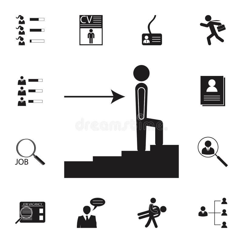 symbol för anställdkarriärtillväxt Detaljerad uppsättning av timme- & värmejaktsymboler Högvärdigt kvalitets- tecken för grafisk  royaltyfri illustrationer