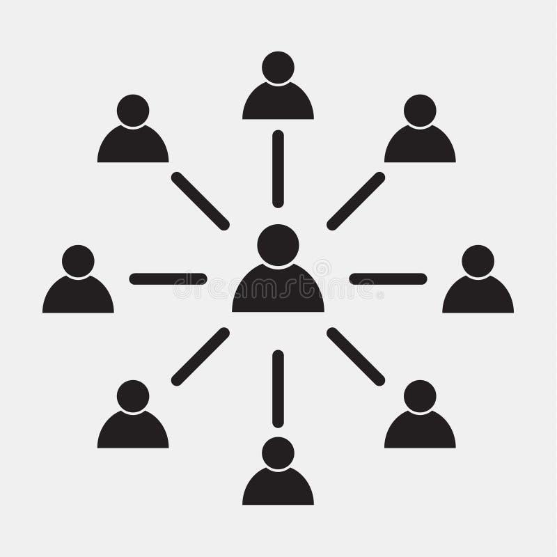 Symbol för anställdkopplingsvektor, symbol på grå bakgrund abstrakt mosaik för bakgrundsdesignillustration royaltyfri illustrationer