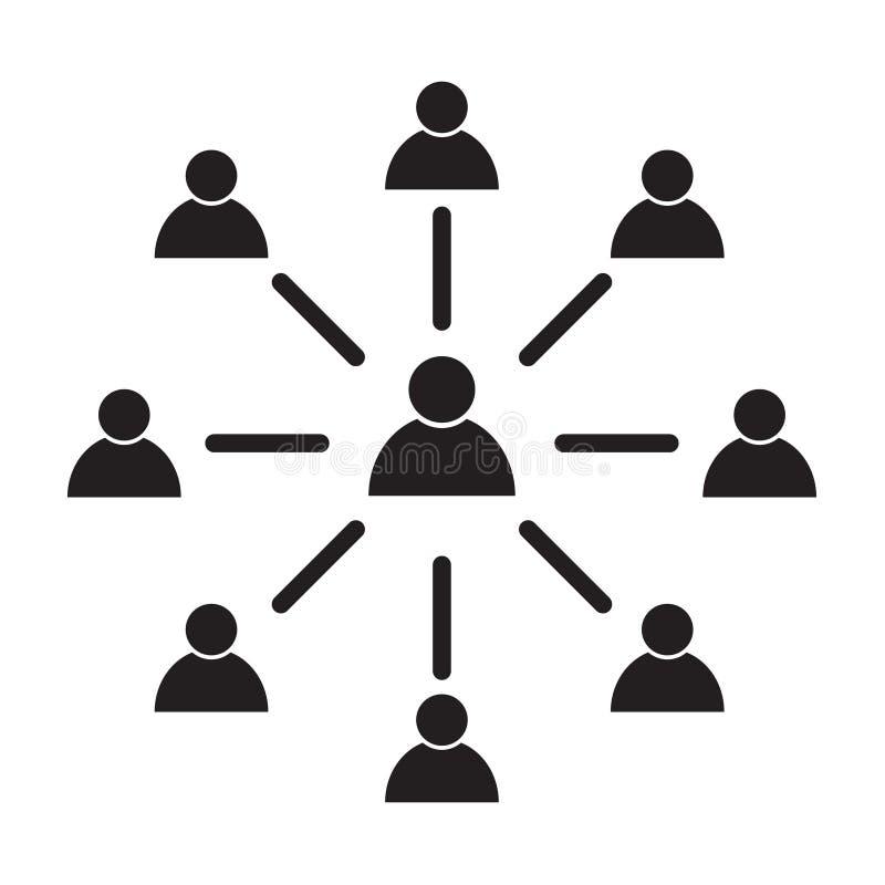 Symbol för anställdkopplingsvektor, symbol på vit bakgrund abstrakt mosaik för bakgrundsdesignillustration stock illustrationer