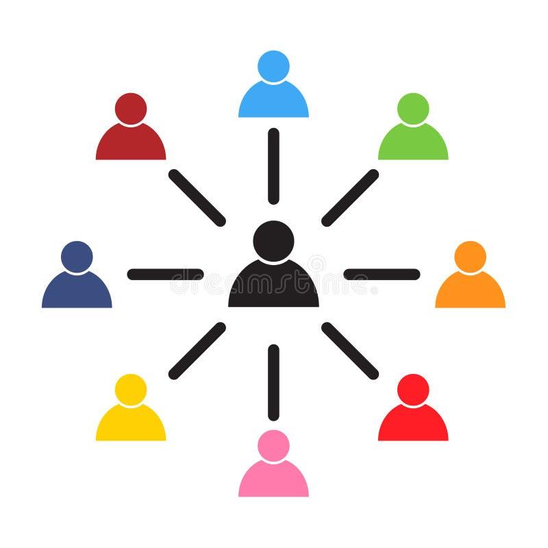Symbol för anställdkopplingsvektor, symbol på vit bakgrund abstrakt mosaik för bakgrundsdesignillustration royaltyfri illustrationer