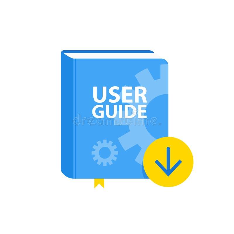 Symbol för användareresehandboknedladdning Plan illustration royaltyfri illustrationer