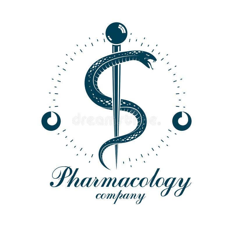 Symbol för apotekCaduceusvektor, medicinsk företags logo för bruk in vektor illustrationer