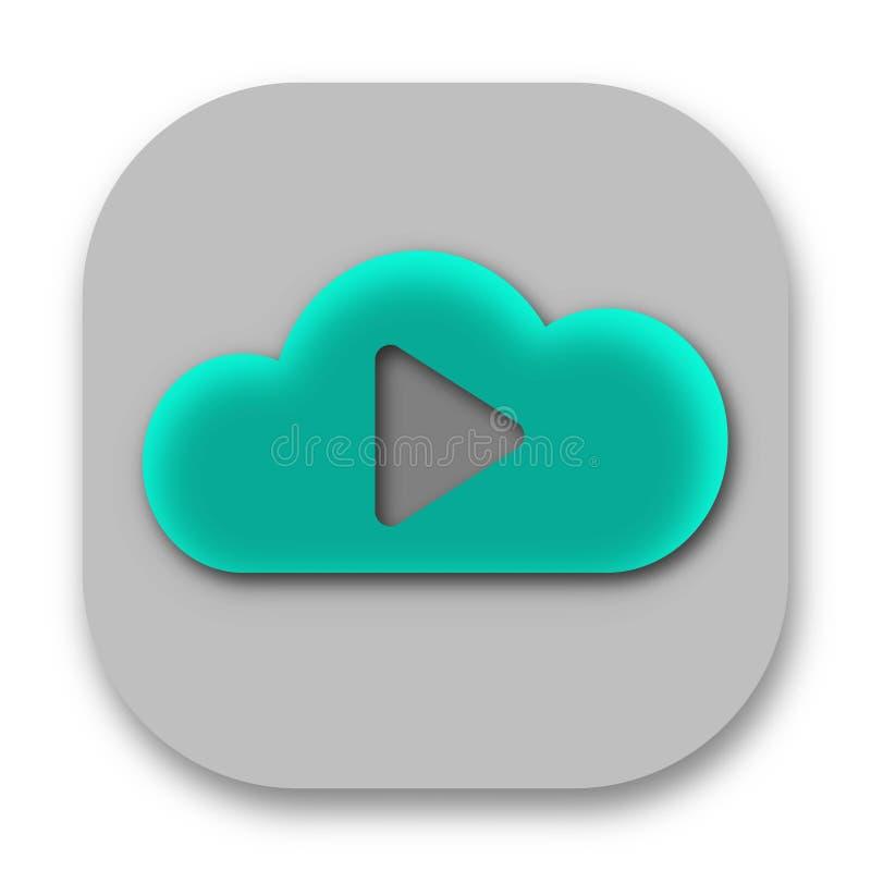 Symbol för App för moln för lekknappmusik stock illustrationer
