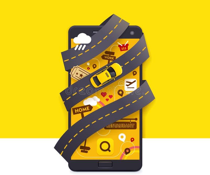 Symbol för app för vektortaxi mobil stock illustrationer