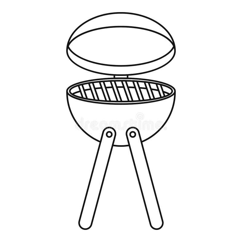 Symbol för apparat för picknickmatlagninggrillfest, översiktsstil vektor illustrationer