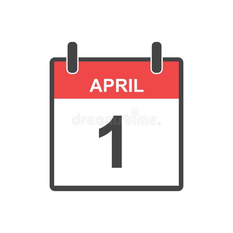 Symbol för April 1 dum dagkalender Vektorillustration i plan styl vektor illustrationer