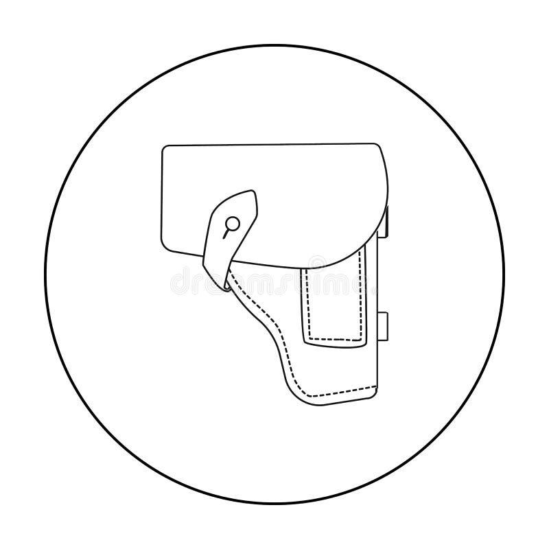 Symbol för arméhandeldvapenpistolhölster i översiktsstil som isoleras på vit bakgrund Militär och vektor för armésymbolmateriel stock illustrationer