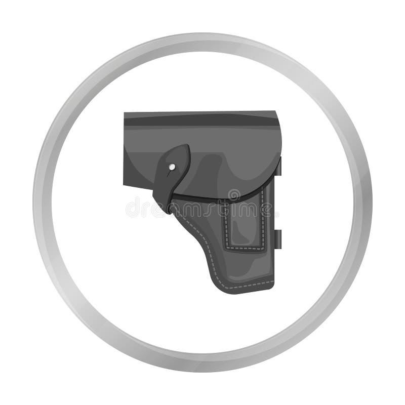 Symbol för arméhandeldvapenpistolhölster i monokrom stil som isoleras på vit bakgrund Militär och vektor för armésymbolmateriel vektor illustrationer