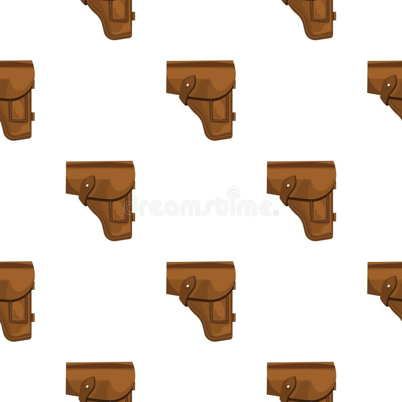 Symbol för arméhandeldvapenpistolhölster i tecknad filmstil som isoleras på vit bakgrund Militär- och armémodellmaterielvektor stock illustrationer