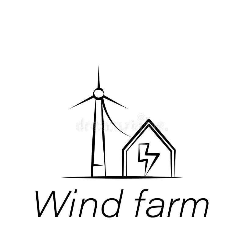 Symbol för attraktion för vindlantgårdhand Beståndsdel av att bruka illustrationsymboler Tecknet och symboler kan användas för re stock illustrationer