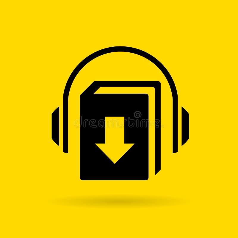 Symbol för Audiobook nedladdningvektor stock illustrationer
