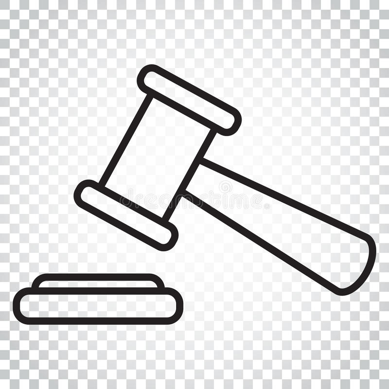 Symbol för auktionhammarevektor i linjen stil Domstoldomstollägenhet ic vektor illustrationer