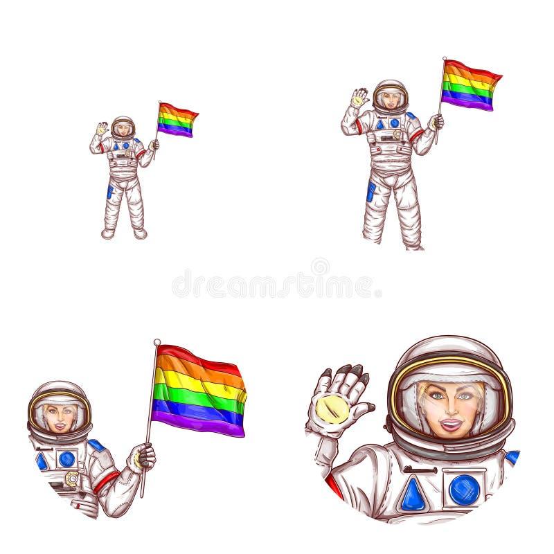 Symbol för avatar för flagga för lgbt för vektorflickaastronaut stock illustrationer