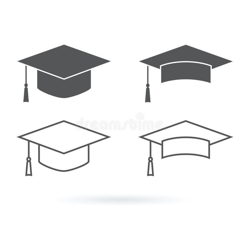 Symbol för avläggande av examenhattvektor som isoleras på vit bakgrund royaltyfri illustrationer