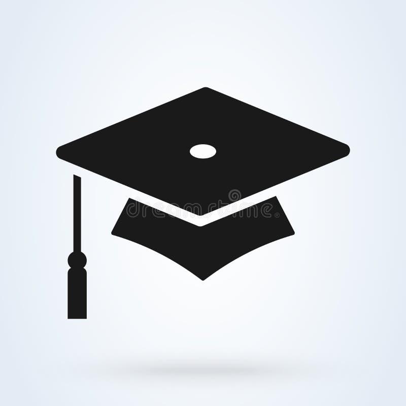 Symbol för avläggande av examenlockvektor isolerad bakgrund för hatt symbol vektor illustrationer
