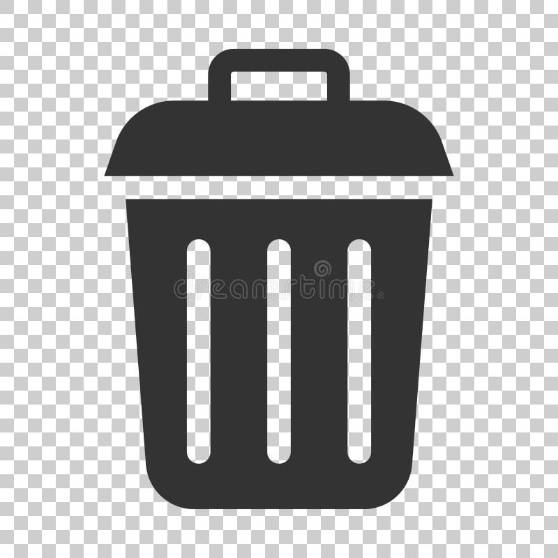 Symbol för avskräde för avfallfack i plan stil Illust för avfallhinkvektor royaltyfri illustrationer